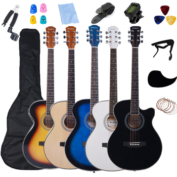 Thin Body Electric Guitar 40inch Acoustic 6 String Guitar 4/4 Size Folk Steel Strings Guitar with Beginner Kits AGT26 acoustic custom guitar 41 inch full size 6 string basswood with guitar kit from us