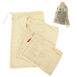 Image 2 - 9 個綿メッシュ野菜収納袋キッチンエコ再利用可能な野菜とフルーツ生態巾着