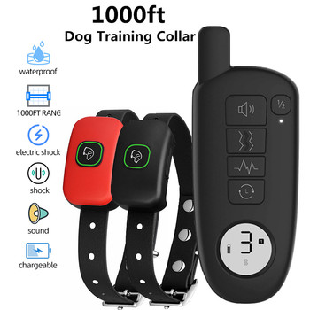 1000ft Range Dog Training Collar Waterproof Electric Shock Vibration Sound Dogs Bark Collar for Small Medium Large Dogs Trainer