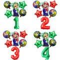 С рисунком Супер Марио, Марио набор воздушных шариков с Мультфильмы вокруг игры номер Алюминий пленка воздушные шары на день рождения вечер...