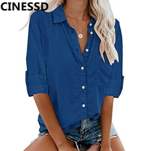 CINESSD Women Casual Blouses Blue Turn Down Collar Cuffed Long Sleeves Cardigan Button Pocket Office Lady Tops Blouse Tee Shirts цены