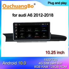 Ouchuangbo radio gps for 10.25 inch A6 A7 C7 RS6 RS7 S6 2012 2018 android all in one multimedia audio 1920*720 carplay 128GB