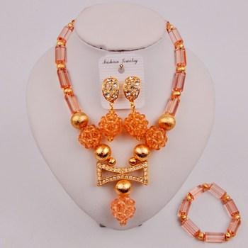 Całkiem brzoskwiniowy afrykański naszyjnik z koralików komplety nigeryjski koralik komplet biżuterii damskiej ZQ8-04 tanie i dobre opinie laanc Miedzi CN (pochodzenie) Kobiety Kryształ Śliczne Romantyczny Necklace+Bracelet+Earrings Zestawy biżuterii dla nowożeńców