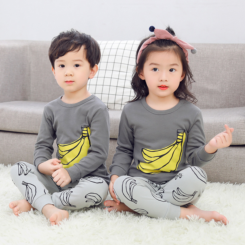 2019 Autumn Winter Baby Girls Clothes Cartoon Children's   Pajamas     Set   Boy Pyjamas Kids Homewear Nightwear Kids Girl Boy Sleepwear