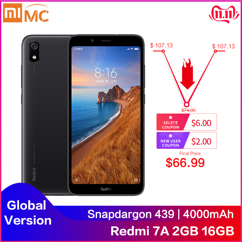 Original Xiaomi Redmi 7A 2GB 16GB 5,45 zoll Smartphone Snapdargon 439 Octa Core 4000mAh Große Batterie Globale version 4G Handy