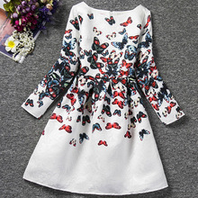 AmzBarley Long sleeves Girls dress Butterflies A-Line Dress Kids Birthday outfits Autumn Winter Casual clothes for 10 13 Years