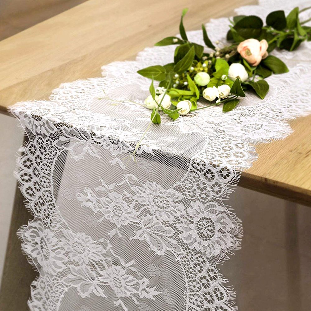 White Lace Table Runner Boho Table Cloth Christmas Wedding Party Decoration Home Hotel Festive Supplies Textile Fashion 35X300CM