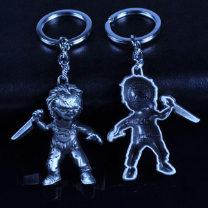 Image 2 - 10pcs/lot Fashion Jewelry Key Ring Horror Movie Seed of Chucky Keychain Figure Cosplay Pendant Key Chain Car Key Chains For Men