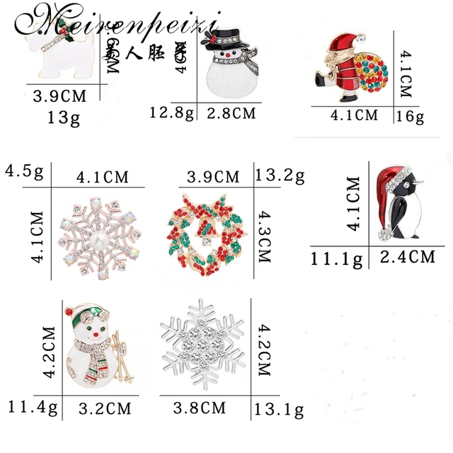 Meirenpeizi Merry Christmas Brooches Pins Cute Santa Claus Hat gloves Bells Socks Donuts Candy Enamel Pin Badges Brooch 4