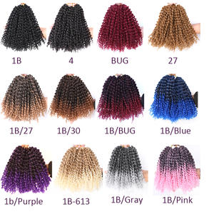 Synthetic Hair Afro Kinky Curly Crochet Hair Crochet Braids 8inch Ombre Marlybob Crochet Hair 3Pcs/Set Synthetic Hair Extensions