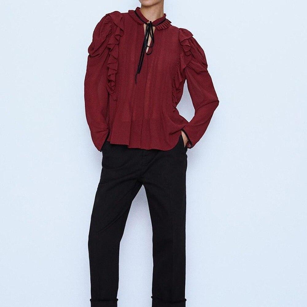 Woman Velvet Bow-tie Laminated Shirt Vintage Solid Red Straight Pullover Shirt Fashion Female O-neck Regular Blouse Ruffled Full