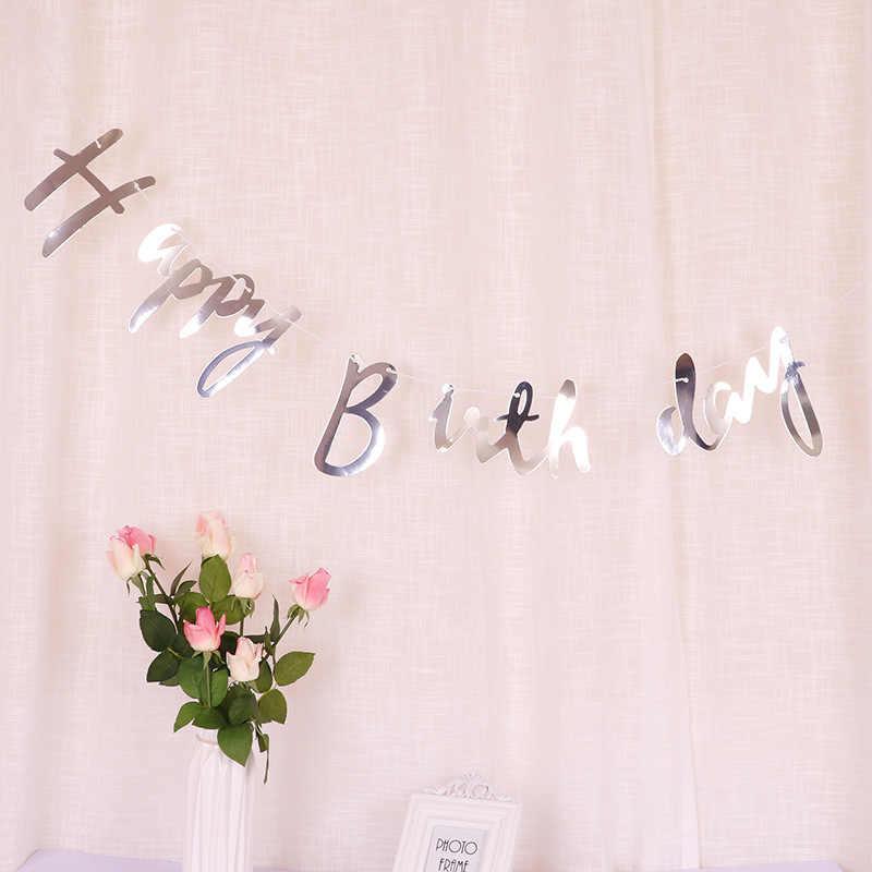 Or Rose joyeux anniversaire bannières garçon fille 1st fête d'anniversaire décorations enfants adultes banderoles guirlande drapeaux bébé douche fournitures
