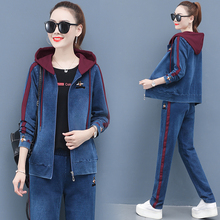 New Women denim  Suits and Set Casual Knitted denim  Pants  T-shirt with long sleeves Women Trousers Top Clothing 3PCS Sets