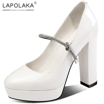 Lapolaka 2020 Hot Sale Genuine Cow Leather Chunky High Heels Pumps Woman Shoes Platform Pointed Toe Crystal Shoes Women