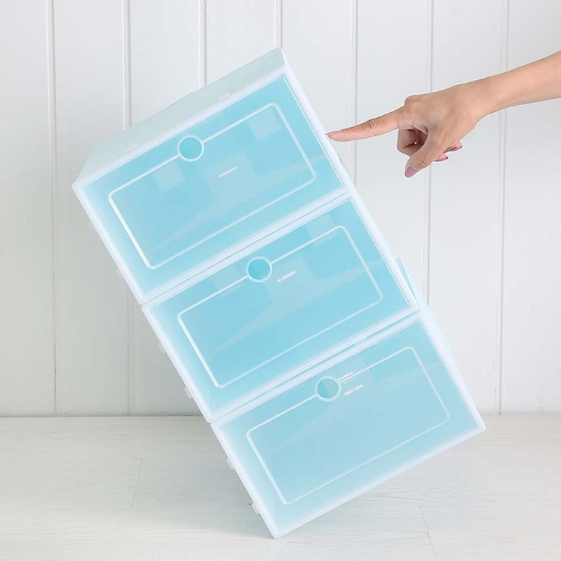 Image 3 - 6 шт. пластиковая коробка для обуви Складная хорошо складируемая коробка для обуви Органайзер чехол для хранения ящиков с откидной прозрачной дверью для мужчин и женщин 33,5x23,5x13 смПолки и органайзеры для обуви   -