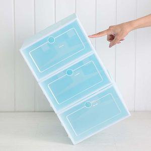 Image 3 - Caja de zapatos de plástico apilable y plegable, organizador de zapatos, cajón, caja de almacenamiento con puerta transparente abatible, 33,5x23,5x13cm, 6 uds.