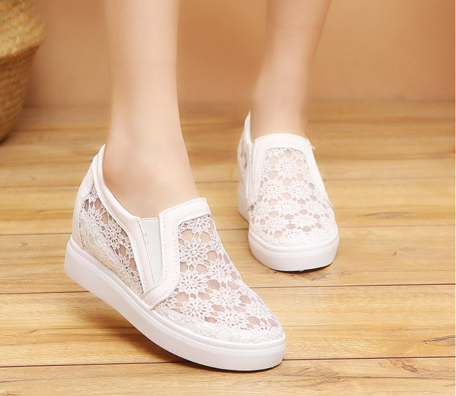 Comfortable Women Loafers Shoes Lace Slip On Walking Shoes White Sneakers Casual Shoes Ballet Flats Platform Shoes
