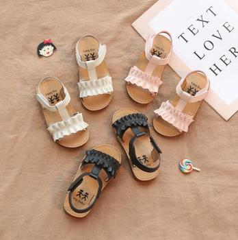 Claladoudou 12-18CM Kids Sandals 2019 Pink Beige Pure Summer Girls Sandal Ruffles Princess Shoes Anti-Slip Baby Sandal Toddler image