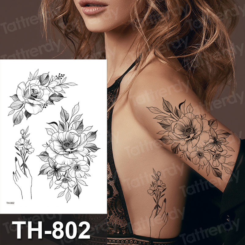 Black Flower Temporary Tattoos Sticker Realistic Fake Washable Rose Tattoo Decal For Adult Body Art Legs Arm Creative Tatoos