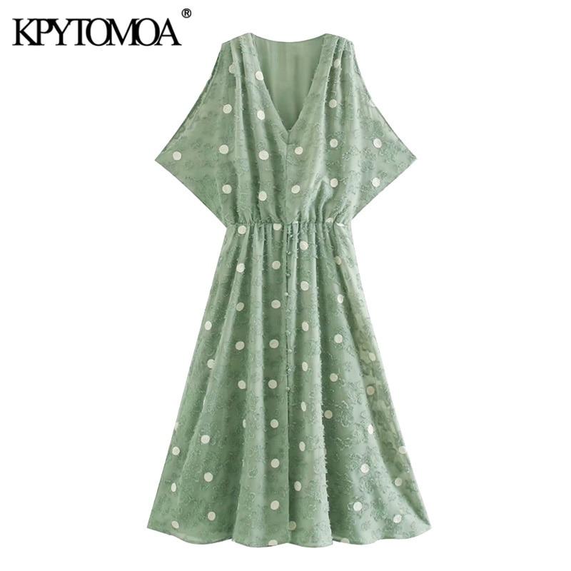 KPYTOMOA Women 2020 Chic Fashion Polka Dot Midi Dress Vintage V Neck Sleeveless Elastic Waist Female Dresses Vestidos Mujer