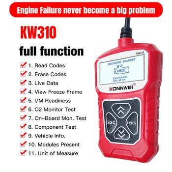 KONNWEI KW310 OBD2 Scanner for Car OBD2 Car Scanner Diagnostic Tool Support English Automotive Scanner Auto Repair Tools launch x431 v 8 inch bluetooth wi fi full system car diagnostic tool support ecu coding x 431 v mini auto scanner obd2 scanner