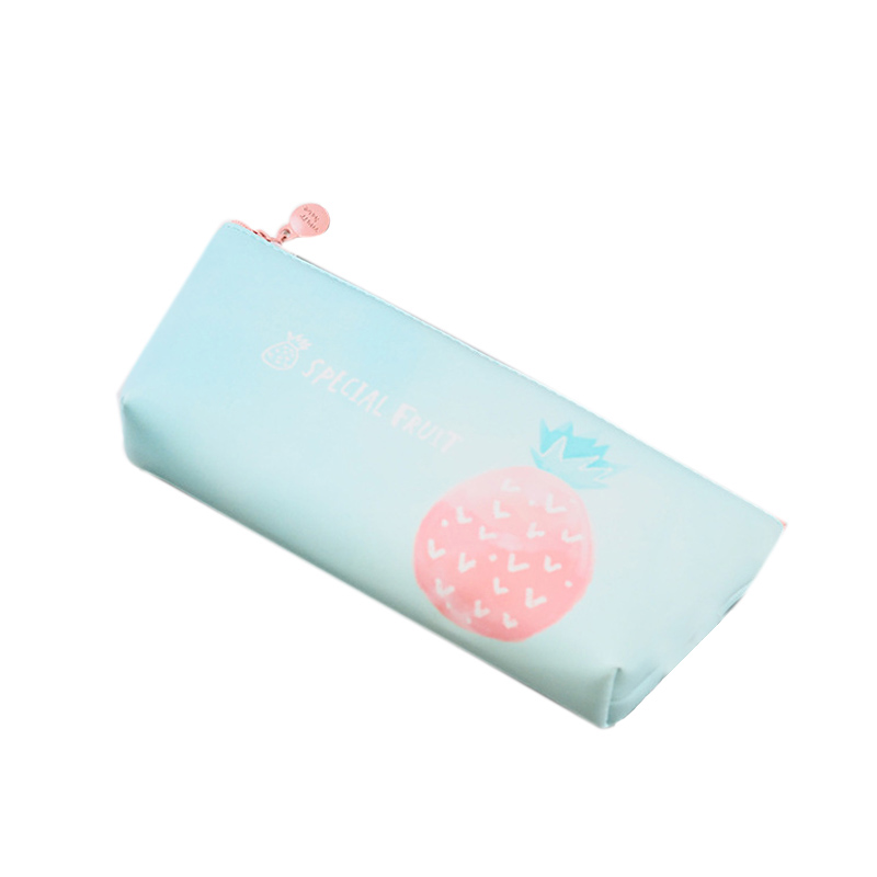 Cute Fruit Green Leaf Pencil Case For Girls Pu Leather Pencil Bag Pen Box Stationery Pouch Gift School Supplies