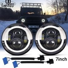 Со светом 7 дюймов светодиодный фары DRL& Hi/Lo луч 50 Вт 30 Вт Halo Кольцо Янтарный Ангел глаз для Niva Мотоцикл Jeep Lada 4x4 УАЗ 12 В 24 В