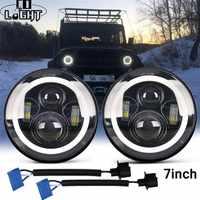 CO LICHT 7 Inch LED Scheinwerfer DRL & Hallo/Lo Strahl 50W 30W Halo Ring Bernstein Engel auge Für Niva Motorrad Jeep Lada 4x4 UAZ 12V 24V