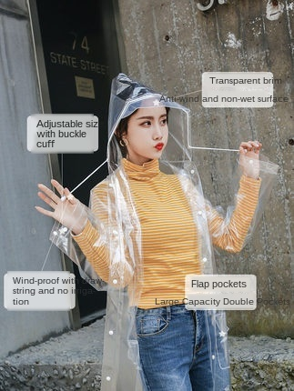 Adult Long Clear Raincoat Women Transparent Rain Poncho Protection Plastic Suit Waterproof Coat Jacket Gabardina Mujer Gift 4