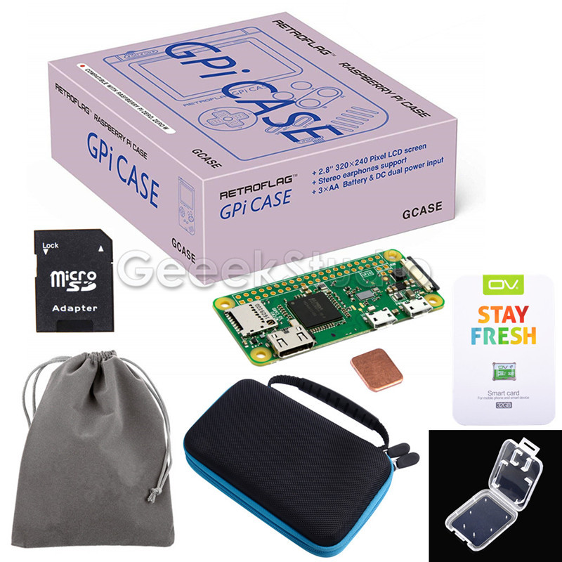 Original Retroflag GPi CASE Kit With 32G Micro SD Card Heatsink Carrying Bag For Raspberry Pi Zero / Zero W