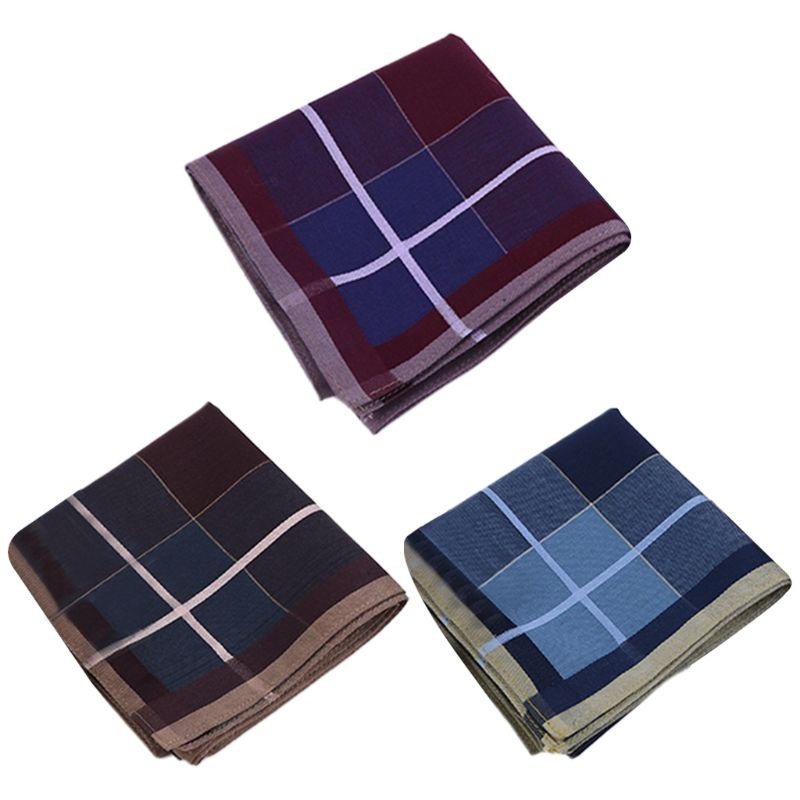 43x43cm Men Vintage Plaid Striped Cotton Handkerchief Deep Color Pocket Square Hanky Luxury Chest Towel Prom Wedding Party Gift