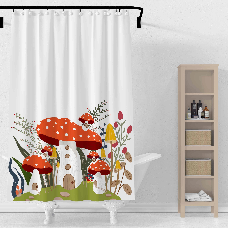 3d mushroom shower curtains geometric hot sale shower curtains bath curtain polyester waterproof bathroom curtain