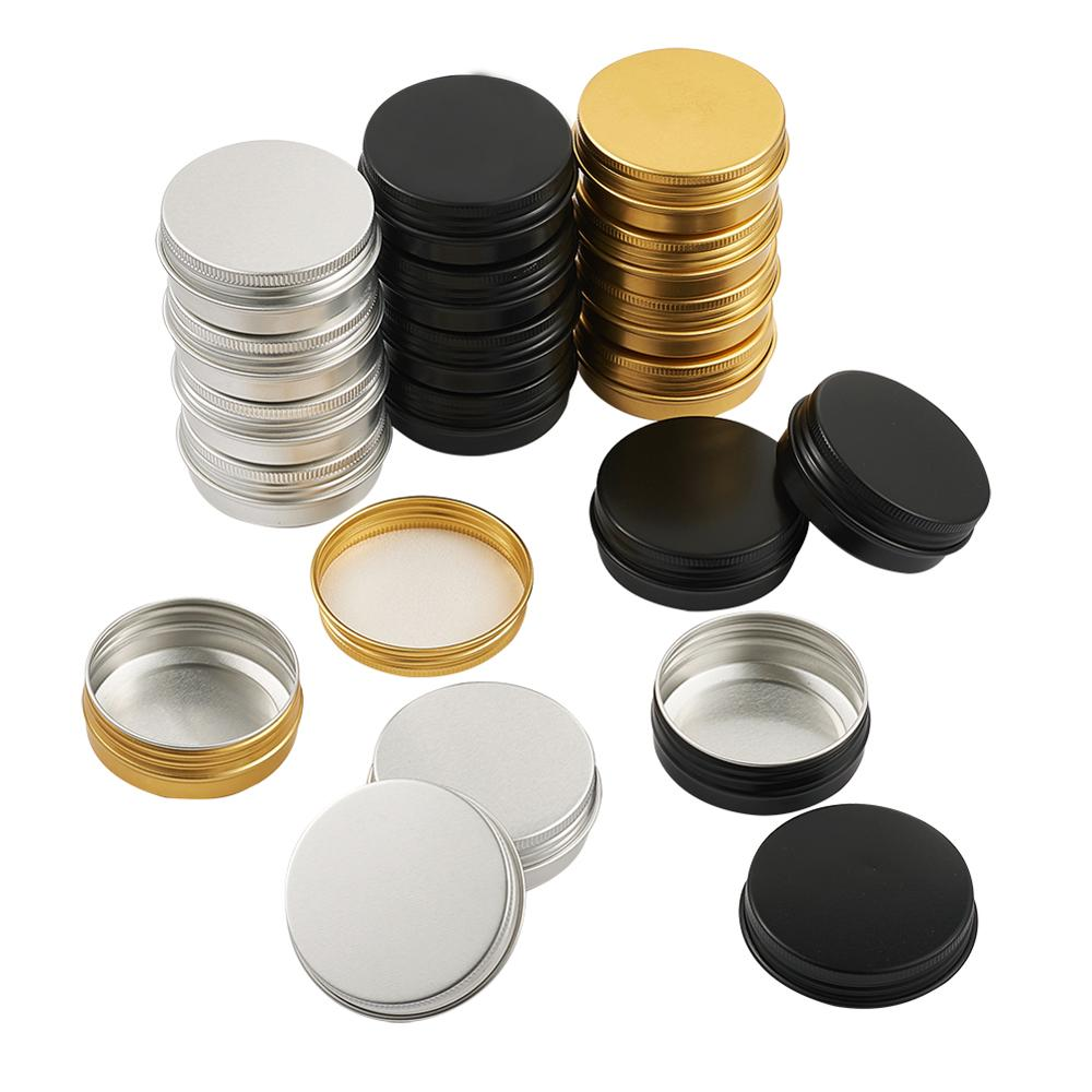 30Pcs/set Aluminium Jewelry Box Travel Bottles Cosmetic Container Empty Cream Jar Pot With Lid For Makeup Pomade Column Shape