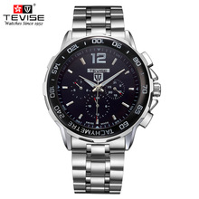 Top Band TEVISE Fashion Business Mens Watch Stainless Steel Automatic Mechanical Wristwatch Relogio Masculino jargar jag6055m4s2 new men automatic fashion dress wristwatch silver color stainless steel band free shipping