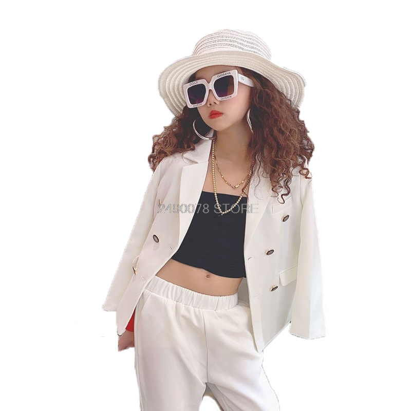 Girls Formal White Blazer Suit  Jacket + Pants 2pcs Dress Kids Wedding Party Clothing Set Teenager Girls School Performance Suit 1