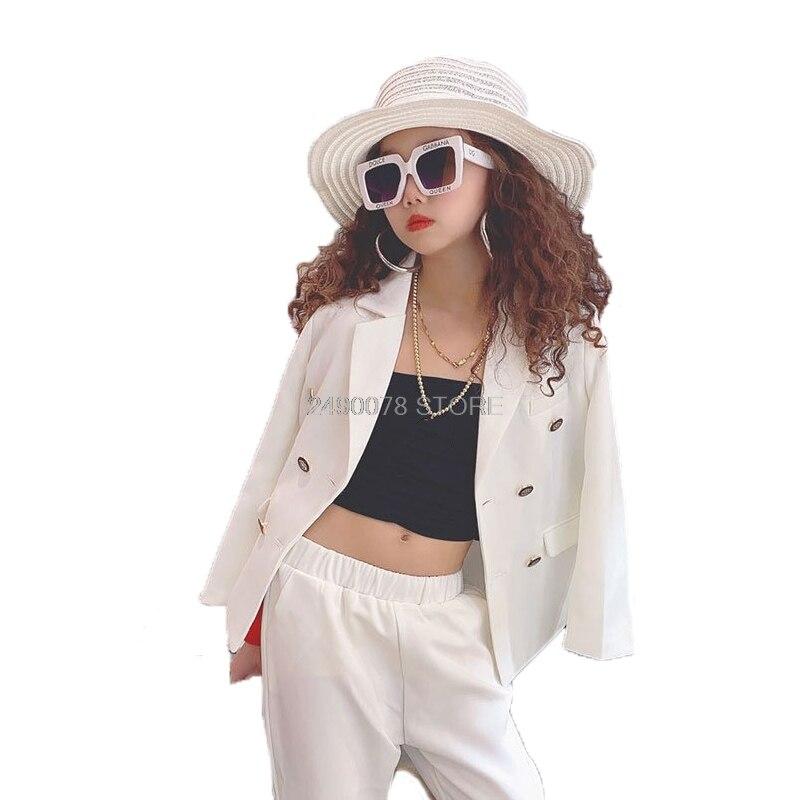 Girls Formal White Blazer Suit  Jacket + Pants 2pcs Dress Kids Wedding Party Clothing Set Teenager Girls School Performance Suit