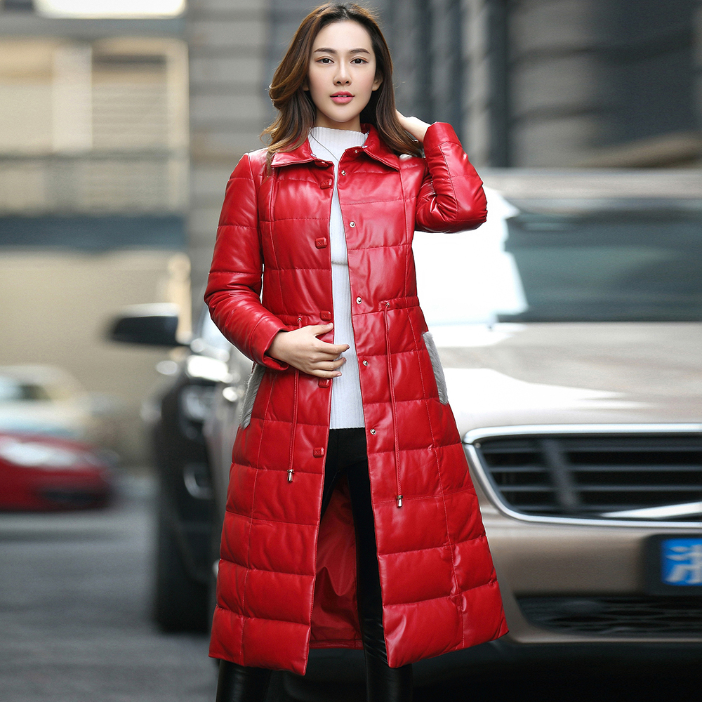 Leather Genuine Down Jacket Women 2020 Long Real Sheepskin Coat Female Winter Jacket Natural Mink Collar Plus Size 16988