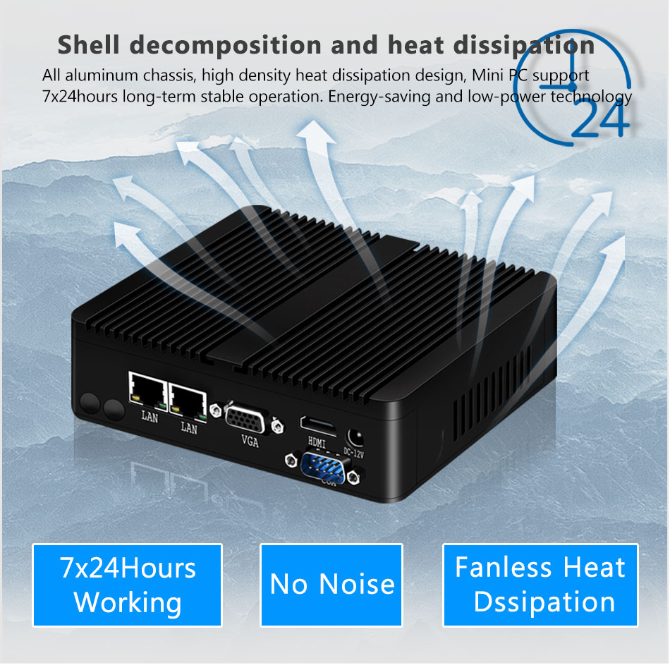 Bebepc mini pc fanless intel celeron j1900 n2830 duplo lan windows 10 n2930 4 núcleo industrial mini computador 2 * com wi-fi vga htpc