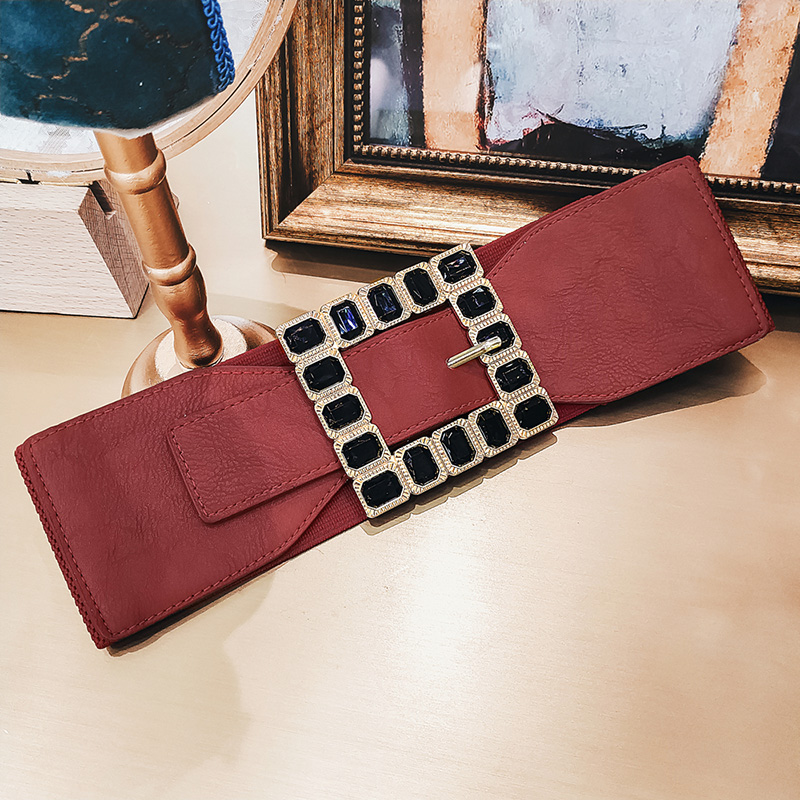 New Korean Fashion Female Waist Belt Diamond Pu Leather Sash For Clothing 2019 Classic Women Black Red Wide Belt Long Belts