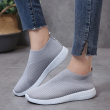 Rimocy Plus Size 46 Breathable Mesh Platform Sneakers Women Slip on Soft Ladies Casual Running Shoes Woman Knit Sock Shoes Flats cheap Basic CN(Origin) Mesh (Air mesh) Rubber Slip-On Fits true to size take your normal size Fabric Shallow Spring Autumn Solid