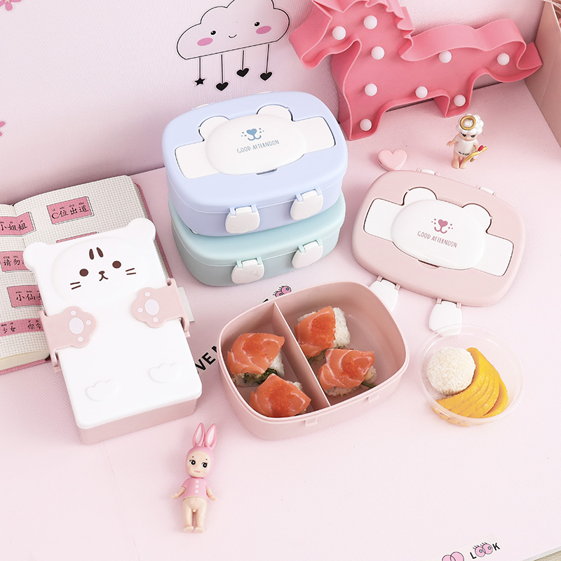 Children's Cartoon Lovely Bento Boxes Double Layer Plastic Lunch Box Food Storage Container Microwave Oven for Children School