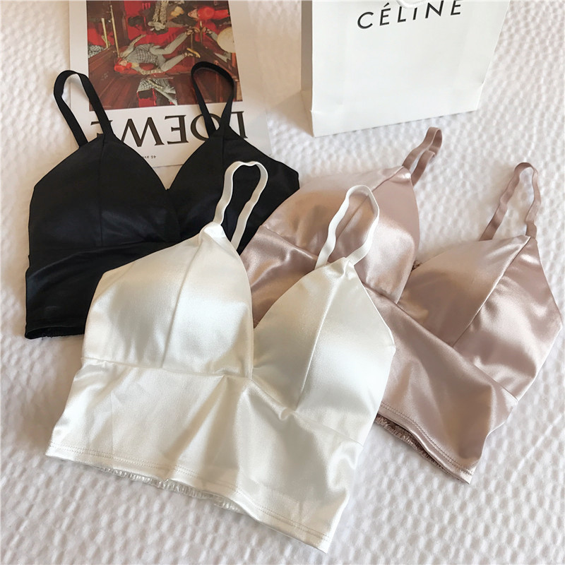 Sexy satin V-neck camisole no steel ring tube top wrapped chest fashion bottoming outer wear camisole sleeveless short top women