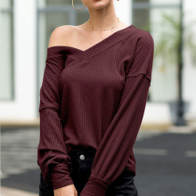 Women Long Sleeve Chiffon Top Shirt Autumn V-neck Pullover T Elegant Office Lady T-Shirt Tops Feminina