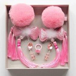 6 uds. Linda niña con borlas florales con diseño de pinzas para el pelo de moda para niños pequeños horquilla anillos Accesorios