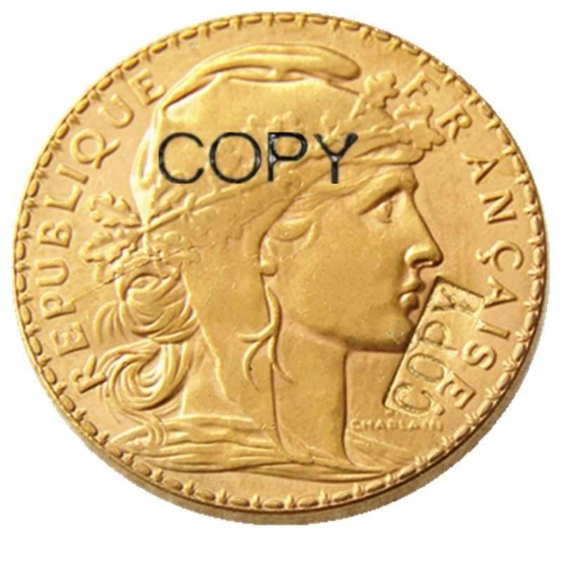 Năm 1914 Pháp 20 Franc Rooste Mạ Vàng Bản Sao Đồng Xu