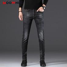 Jeans Denim Trousers For Men Sweatpants Streetwear Straight Hip Hop Elastic  Casual Pants Autumn Male Solid Slim Designer