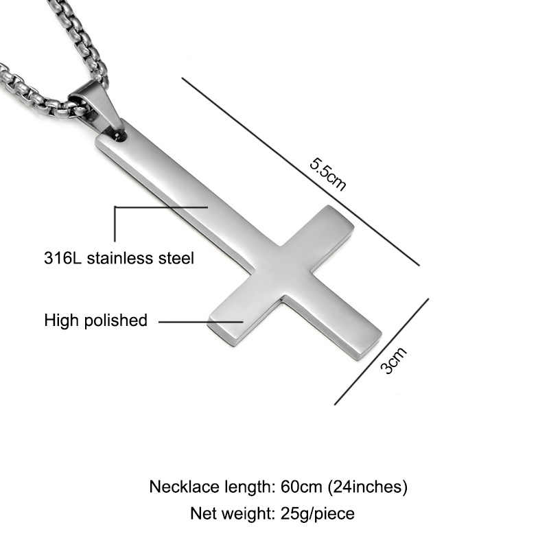Fashion Stainless Steel Inverted Cross Pendant Necklace Satan Punk Jewelry Chain For Men Women boys Anti-ChristianJesus Gift