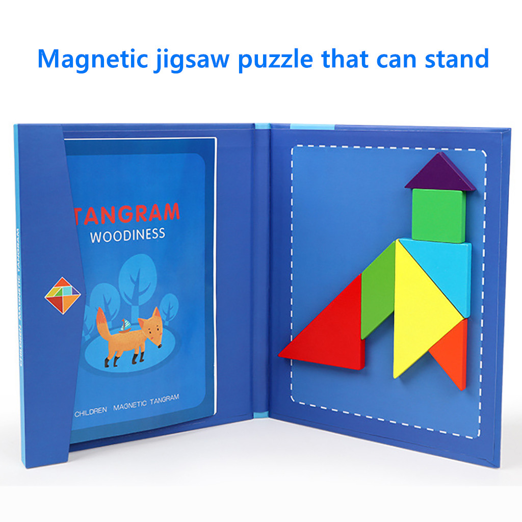 Magnetic Jigsaw Puzzle Tangram Toy Wooden Gaming Board Children Educational Toys
