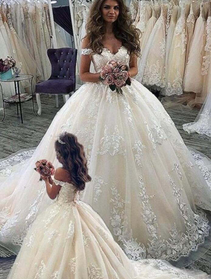 Eslieb custom made ball gown lace appliques wedding dress 2020 wedding dressesWedding Dresses   -