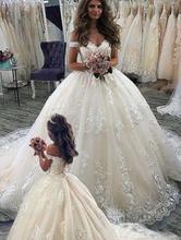Eslieb vestido de novia hecho a medida, apliques de encaje, 2020